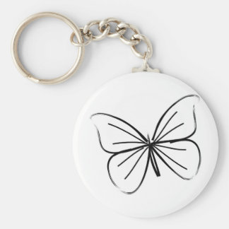 Simple Butterfly Line Drawing Keychain