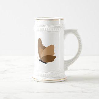 Simple Butterfly - Orange Brown Beer Stein