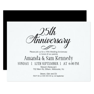 Simple calligraphy 25th  Anniversary Invitation