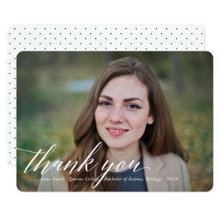 Simple Calligraphy Graduation Photo Thank You Card