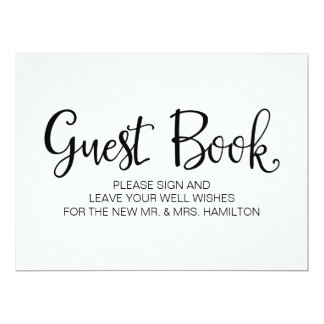 "Simple Calligraphy | ""Guest Book"" Wedding sign Card"