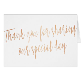 """Simple Calligraphy Rose Gold """"Thank you"""" Card"""