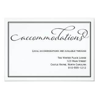 Simple Calligraphy Wedding Accommodations Card