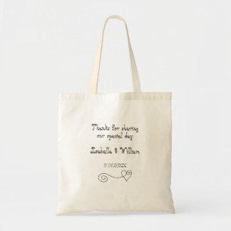 Simple calligraphy wedding favor tote bag