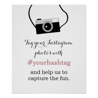 Simple Camera Instagram Photos Hashtag Sign Poster