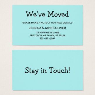 "Simple, Casual, Turquoise ""We've Moved"" Card"