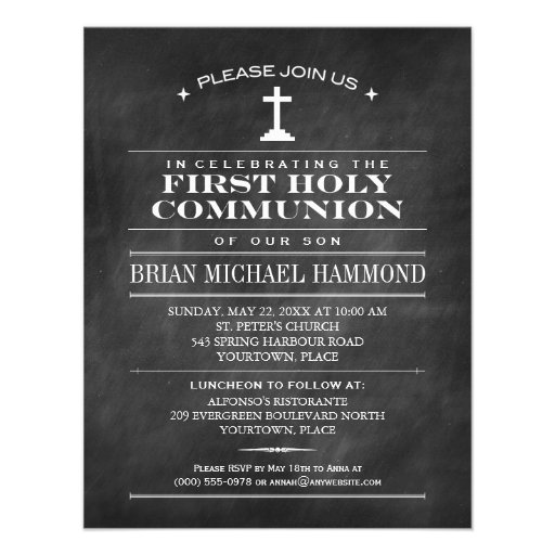 Simple Chalkboard First Holy Communion Personalized Invites