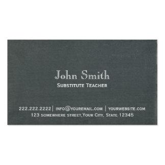 Simple Chalkboard Substitute Teacher Business Card