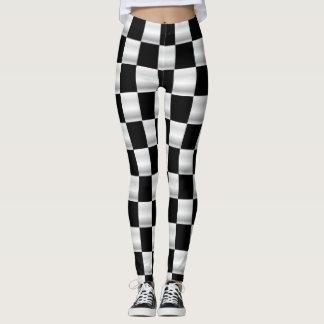 Simple checkered flag leggings black and white