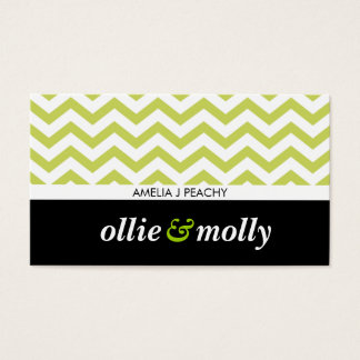 simple chevron pattern modern black lime green business card