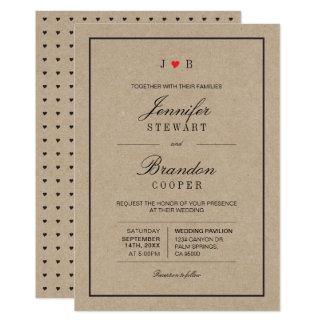 Simple Chic Kraft Typography Wedding Invitation
