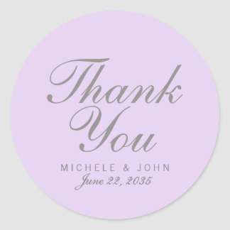 Simple Chic Lilac Thank You Favor Stickers