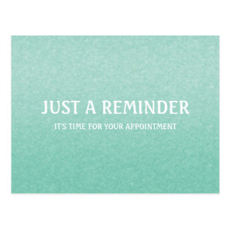 Simple Chic Mint Green Appointment Reminder Postcard
