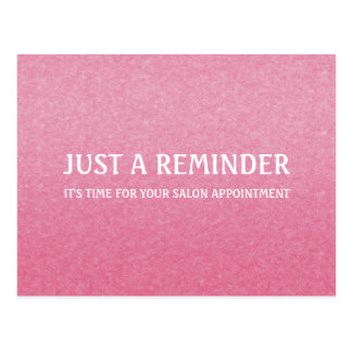 Simple Chic Pink Salon Appointment Reminder Postcard