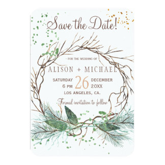 Simple chic rustic winter wreath save date wedding card