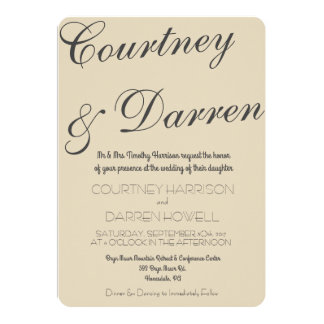 Simple chic script wedding invitation