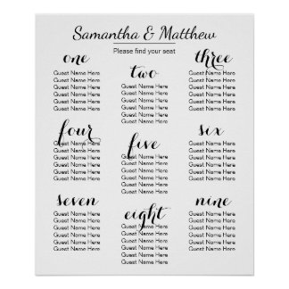 Simple & Chic Wedding (Scattered) | Seating Chart