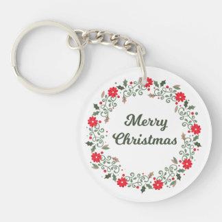 Simple Christmas Floral Wreath Keychain