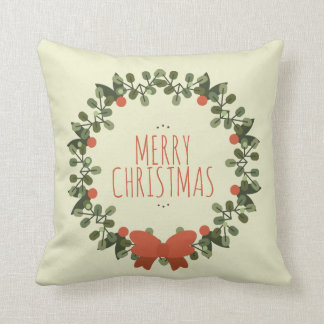 Simple Christmas Floral Wreath | Throw Pillow