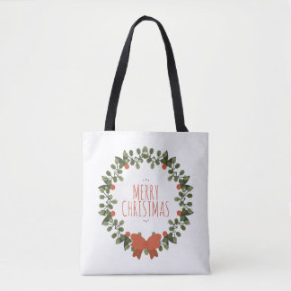 Simple Christmas Floral Wreath Tote Bag