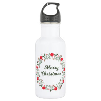 Simple Christmas Floral Wreath Water Bottle