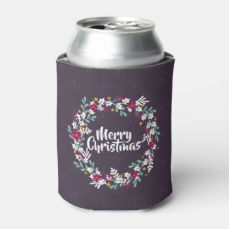 Simple Christmas Wreath Purple   Can Cooler