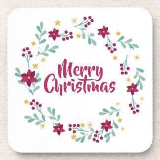 Simple Christmas Wreath Purple   Coaster