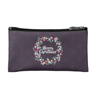 Simple Christmas Wreath Purple | Cosmetic Bag