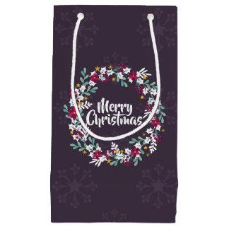 Simple Christmas Wreath Purple   Gift Bag