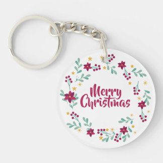 Simple Christmas Wreath Purple | Keychain