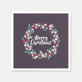 Simple Christmas Wreath Purple | Napkin Paper Napkin