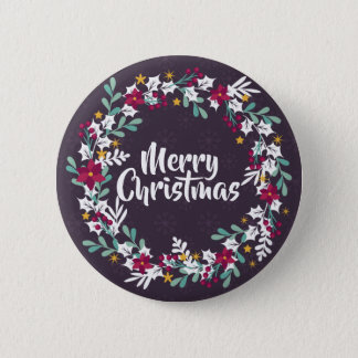 Simple Christmas Wreath Purple | Pin Button