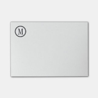 Simple Circle Border Initial White or Custom Color Post-it Notes