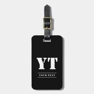 Simple Classic Black Monogram Luggage Tag
