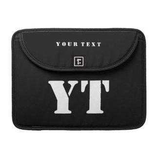 Simple Classic Black Monogram Sleeve For MacBook Pro