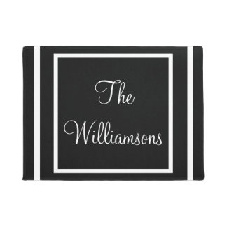Simple Classic Black White Custom Family Name Doormat