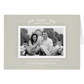 Simple Classic Warm Gray + White Holiday Photo Card