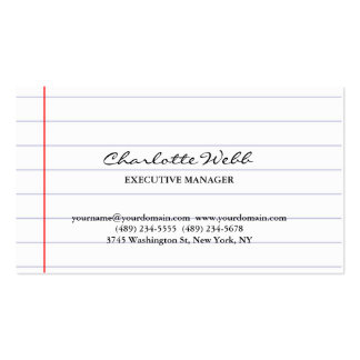 Simple Classical Script Lined Paper Consultant Business Card