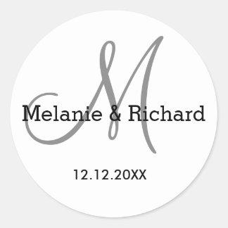 Simple Classy Black White Gray Monogram Round Sticker
