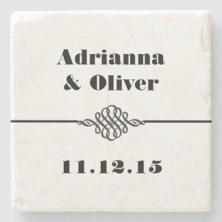Simple Classy Black White Wedding Stone Coaster