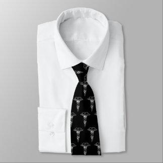 Simple Classy Elegant Silver Caduceus Medical Tie