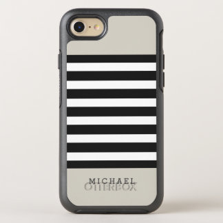 Simple Classy Linen Beige Black Grey Stripes OtterBox Symmetry iPhone 8/7 Case