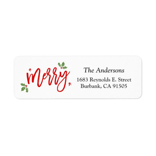 Simple Classy Merry Christmas Hand Written Script Return Address Label