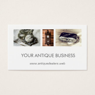 Simple Clean Antique Dealer Photo Collage Business Card