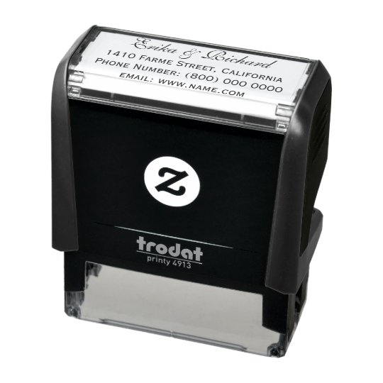 simple & clean couple's address information self-inking stamp