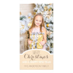 Simple Clean Cream White Christmas Holiday Photo Personalized Photo Card