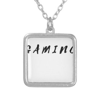 Simple Clean Gamer Gaming Black Text Silver Plated Necklace