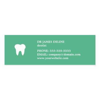 Simple Clean Green White Dentist Appointment Card Mini Business Card
