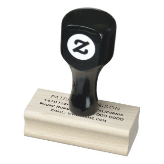 simple & clean return address information rubber stamp