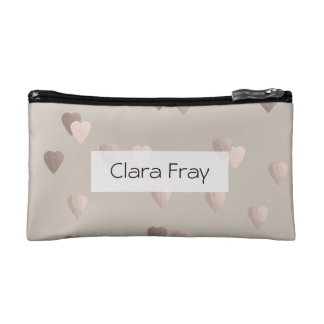 simple clear rose gold foil love hearts, neutral cosmetic bags